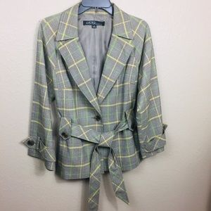 Kasper plaid single button blazer size 12